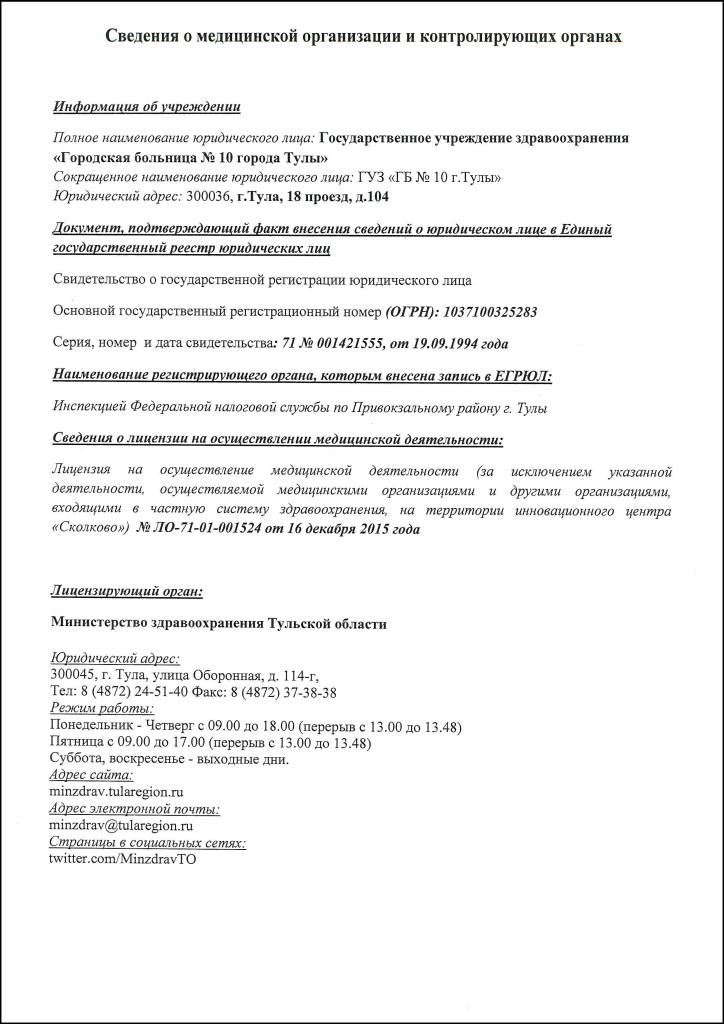 Сведения о медицинской организации и контролирующих органах 1