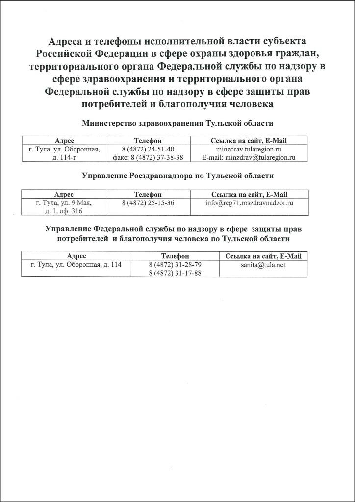 Сведения о медицинской организации и контролирующих органах 2